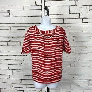 New York & Company Striped Short Sleeve Top 1084